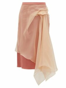 Sies Marjan - Nadine Gathered Silk Organza And Satin Skirt - Womens - Beige