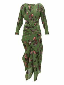 Preen By Thornton Bregazzi - Ofira Plissé Floral Print Georgette Midi Dress - Womens - Green Multi