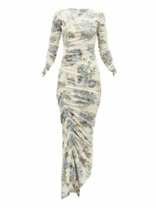 Preen By Thornton Bregazzi - Josepha Ruched Floral Print Velvet Dress - Womens - Ivory Multi