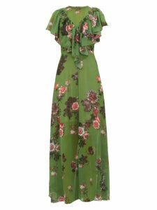 Preen By Thornton Bregazzi - Irisa Gathered Floral Print Georgette Maxi Dress - Womens - Green Multi
