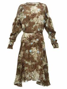 Preen By Thornton Bregazzi - Jemima Floral Printed Satin Devoré Dress - Womens - Brown Multi