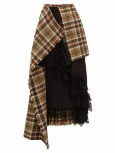 Preen By Thornton Bregazzi - Amaya Asymmetric Wool Tartan Skirt - Womens - Brown Multi