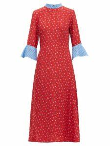 Hvn - Ashley Heel Print Silk Midi Dress - Womens - Red Multi