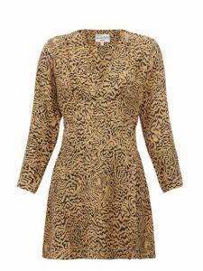 Hvn - Hoover Tiger Print Silk Crepe Mini Dress - Womens - Brown