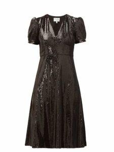 Hvn - Paula V Neck Sequinned Dress - Womens - Black