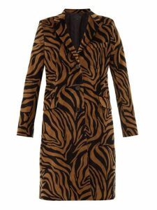 Nili Lotan - Rosalin Tiger Print Cotton Velour Coat - Womens - Black Brown