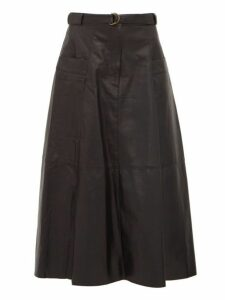 Nili Lotan - Lila Panelled Leather A Line Skirt - Womens - Black