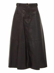 Nili Lotan - Lila Panelled Leather A Line Skirt - Womens - Black
