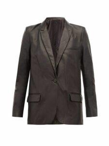Nili Lotan - Don Single Breasted Leather Blazer - Womens - Black