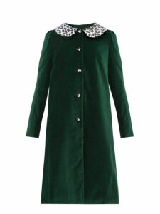 Batsheva - Leopard Print Collar Cotton Velvet Swing Coat - Womens - Green