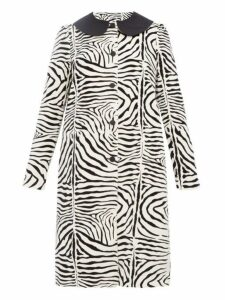 Batsheva - Zebra Print Cotton Velvet Swing Coat - Womens - Cream Multi