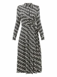 Diane Von Furstenberg - Sana Printed Jersey Wrap Dress - Womens - Black White