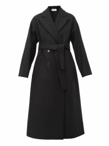 Redvalentino - Belted Double Breasted Wool Blend Coat - Womens - Black