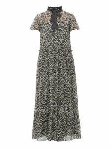 Redvalentino - Leopard Print Pussy Bow Chiffon Maxi Dress - Womens - Black White