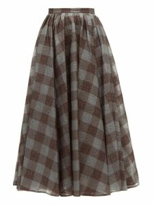 Erdem - Talisa Checked Lamé Cloqué Skirt - Womens - Grey