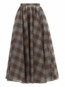 Erdem - Talisa Checked Lamé Cloqué Skirt - Womens - Grey