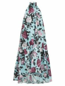 Erdem - Belita High Neck Floral Print Taffeta Dress - Womens - Blue Multi