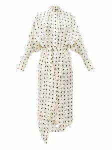 Petar Petrov - Dublin Polka Dot Silk Satin Twill Dress - Womens - White Black