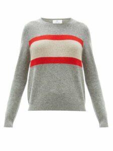Allude - Stripe Intarsia Wool Blend Sweater - Womens - Grey Multi