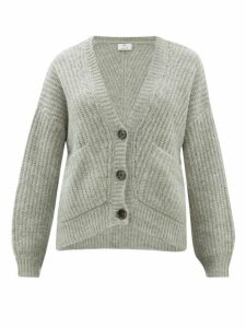 Allude - V Neck Ribbed Knit Cardigan - Womens - Grey