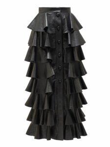 Saint Laurent - Ruffled Leather Midi Skirt - Womens - Black