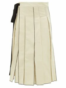 Sara Lanzi - Pleated Cotton Twill Midi Skirt - Womens - Ivory