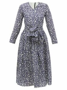 Sara Lanzi - Abstract Print V Neck Cotton Blend Wrap Dress - Womens - Navy White