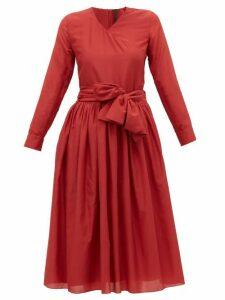 Sara Lanzi - V Neck Cotton Blend Wrap Dress - Womens - Red