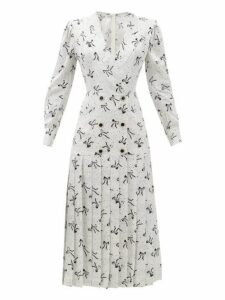 Alessandra Rich - Bow And Dot Print Pleated Skirt Silk Dress - Womens - White Black