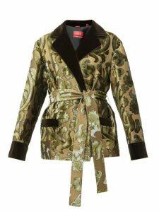 F.r.s - For Restless Sleepers - Giocasta Floral Velvet Devoré Wrap Jacket - Womens - Green Multi