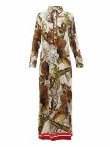 F.r.s - For Restless Sleepers - Aura Owl Print Silk Crepe Dress - Womens - Ivory Multi