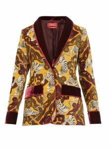 F.r.s - For Restless Sleepers - Kakia Tiger Print Velvet Jacket - Womens - Yellow Multi