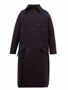Toga - Double Breasted Neoprene Coat - Womens - Navy
