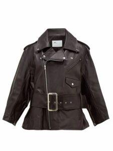 Toga - Belted Leather Biker Jacket - Womens - Black