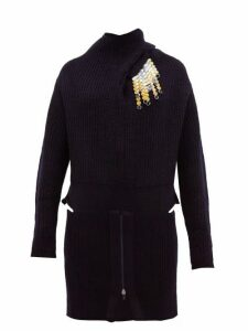 Toga - Detachable Brooch Ribbed Wool Blend Sweater - Womens - Navy
