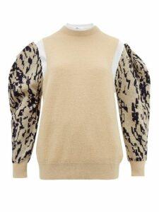 Toga - Puff Sleeve Jacquard Mohair Blend Sweater - Womens - Cream Multi