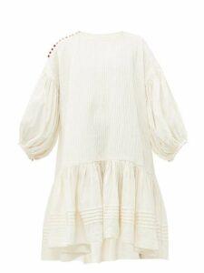 Story Mfg - Verity Dipped Hem Pintucked Linen Blend Dress - Womens - Ivory