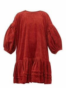 Story Mfg - Verity Dipped Hem Organic Cotton Corduroy Dress - Womens - Red