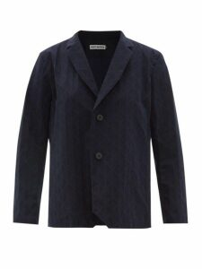 Issey Miyake - Blink Geometric Pleated Single Breasted Blazer - Womens - Navy
