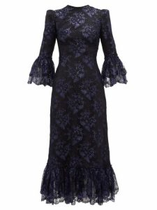 The Vampire's Wife - The Wild Flower Metallic Floral Lace Midi Dress - Womens - Black Navy