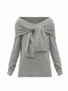 Prada - V Neck Tie Front Wool Blend Sweater - Womens - Grey