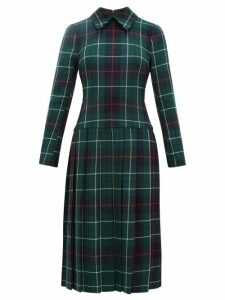 Duncan - Tartan Pleated Wool Twill Dress - Womens - Multi