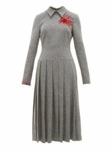 Duncan - Exploding Heart Bead Embellished Wool Blend Dress - Womens - Grey