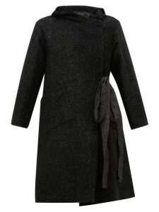 Sara Lanzi - Double Breasted Tinsel Coat - Womens - Black