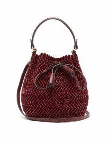 Anya Hindmarch - The Neeson Mini Whipstitch Velvet Bucket Bag - Womens - Burgundy