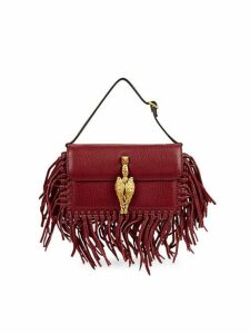 Fringed Leather Top Handle Bag