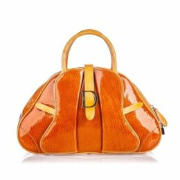 Dior Orange Patent Leather Saddle Dome Handbag