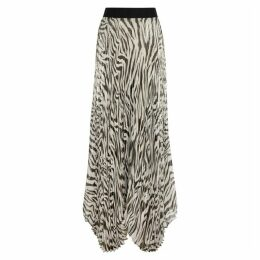 Alice + Olivia Katz Zebra-print Silck-blend Maxi Skirt