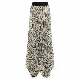 Alice + Olivia Katz Zebra-print Silk-blend Maxi Skirt
