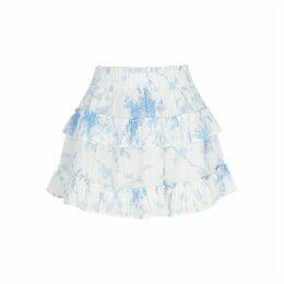 LoveShackFancy Bliss Floral-print Cotton Mini Skirt